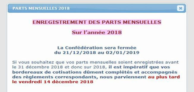 Bordereaux de cotisations 2018